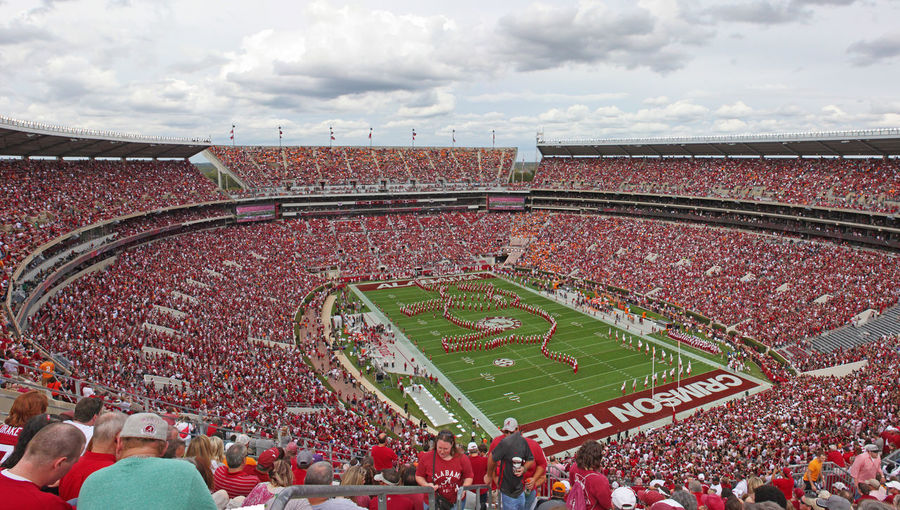 University of Alabama Million Dollar Band pregame show. Alabama Bryant Denny Stadium Built Structure Crimson Tide  Crowd Elephant Football Large Group Of People Marching Band Million Dollar Band Outdoors Pregame Stadium Tuscaloosa University Of Alabama The Color Of Sport