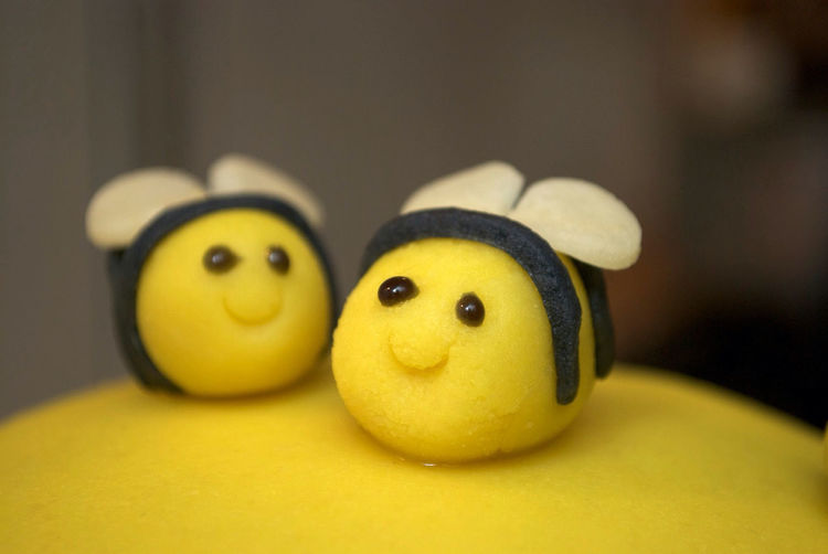 Close-up of smiley face on table