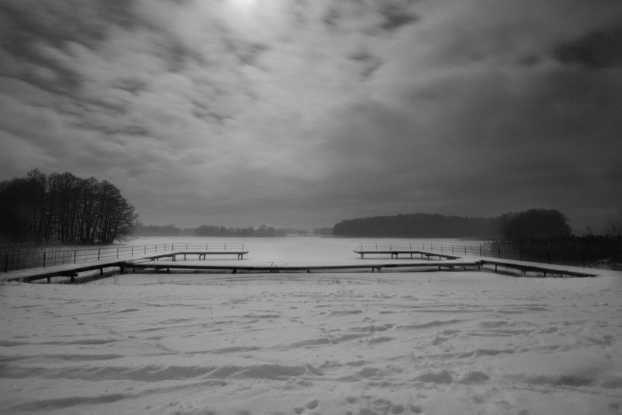 Black And White Cold Temperature Frozen Full Moon Lake Long Exposure Masuren Masuria Mazury Nature No People Outdoors Snow Wide Angle
