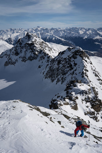 High angle view of people on snowcapped mountain