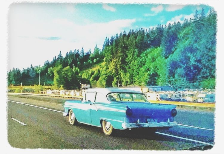 1957 Ford Fairlane on Interstate 5 at Exit 36 - Kelso, Washington Streamzoofamily Classic Car Pacific Northwest  Feel The Journey