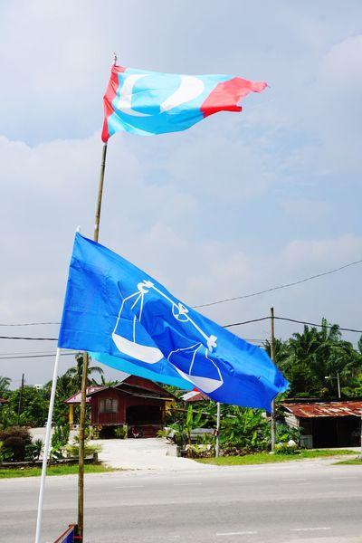 Malaysia election KeADILan Election Justice Malaysia Barisan_nasional Bn Barisan Green PKR Pas Pru Pru14 Pakatanrakyat Pakatanharapan Najib Razak TunM Beach City Blue Flying Flag Wind Sky Cloud - Sky