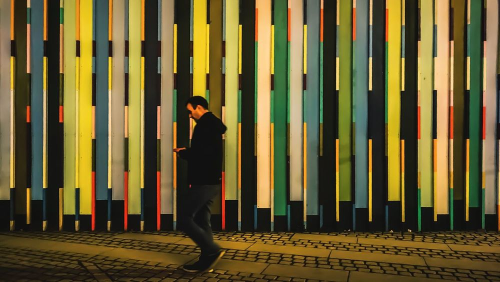 Passerby. Walking Passing By Lookingdown Phone Wall Colorful Lines Photography Photooftheday Photographer
