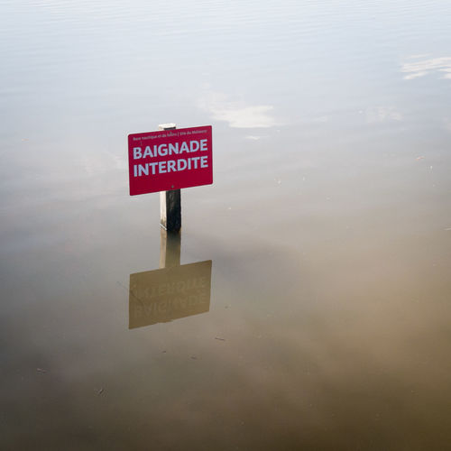 Baignade interdite Baignadeinterdite Information Sign Lac De Malsaucy Lake No People Polution Warning Sign Water