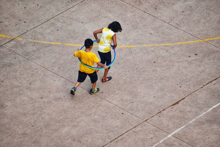 High angle view of children playing