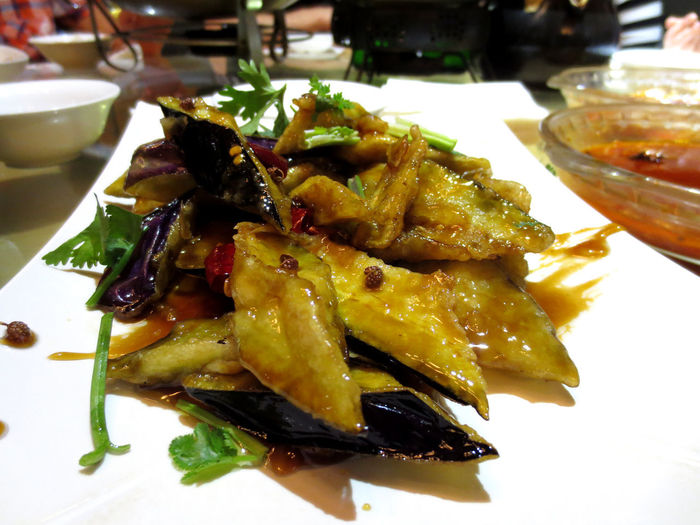 Chinese Aubergines Chinese Food Fengwei Qiezi Aubergines Chinese Eggplant Close-up Day Food Food And Drink Freshness Healthy Eating Indoors  Local Flavours No People Plate Ready-to-eat