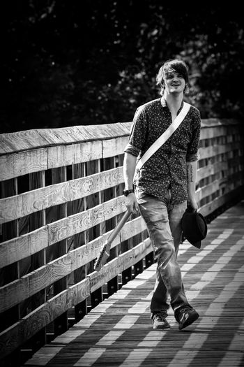 Full length portrait of man walking outdoors