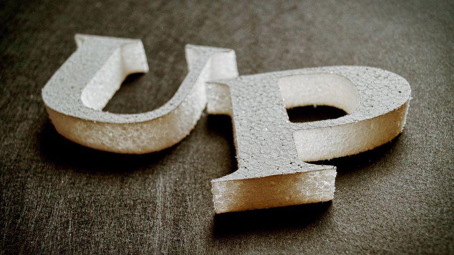 Close-up of polystyrene alphabets