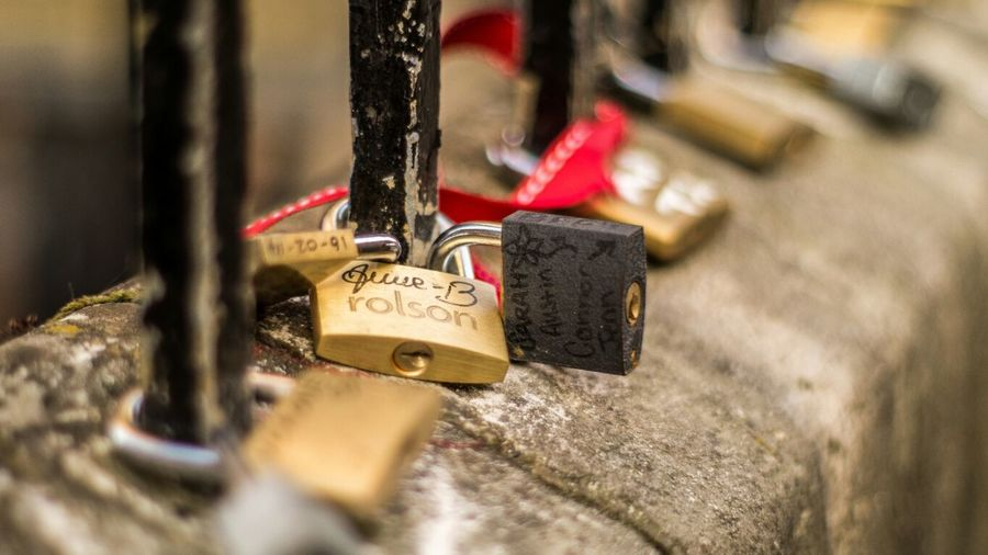 Close-up of padlocks against blurred background