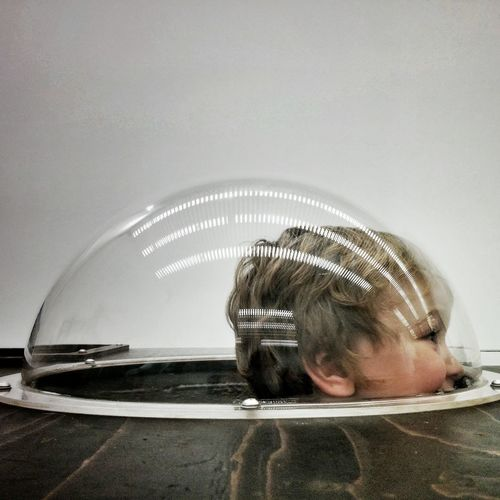 Child Children Front View Glass Glass - Material HEAD Human Hair Leisure Activity Lifestyles Peekaboo Person Reflection Sphere Submarine