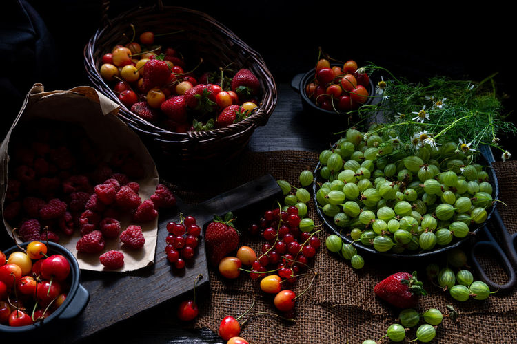 Cherries Raspberries Summer Berries Abundance Basket Bowl Choice Container Dark Food Photography Food Food And Drink Freshness Fruit Gooseberries Healthy Eating Indoors  Large Group Of Objects No People Red Ripe Rustic Style Still Life Table Variation Variety The Still Life Photographer - 2018 EyeEm Awards