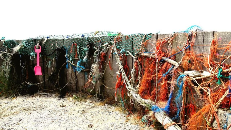 Plastic Soup Sky Day Hanging Drying Fishing Industry Fence