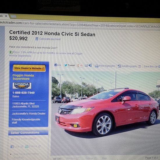 I need to hit the lotto so I can get this! Hondacivic Si VTech