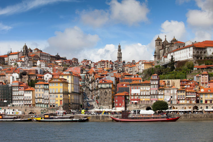 Porto city skyline in Portugal, Old Town by the Douro river Cityscape Douro  European  Houses Old Town Oporto Porto Portugal Riverside Skyline Travel Architecture Building Exterior Built Structure City Cityscape Europe Homes Ribeira Town Travel Destinations Urban Urban Skyline Water Waterfront