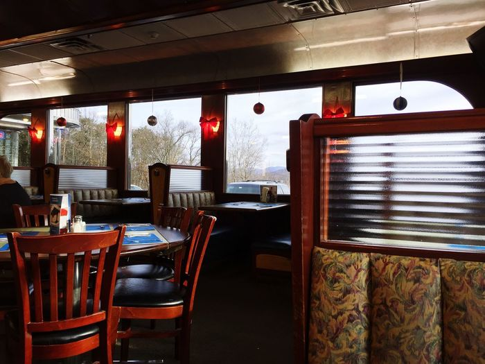 Inside the Diner New York Diner Chair Indoors  Table Empty No People Home Interior Furniture Seat Curtain Day