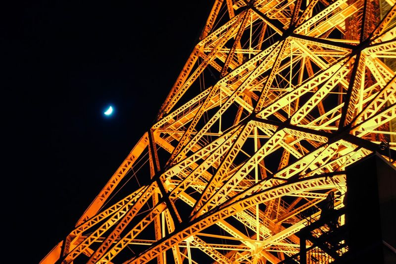 Night Moon Built Structure Architecture Sky Tokyo Tower The Architect - 2018 EyeEm Awards