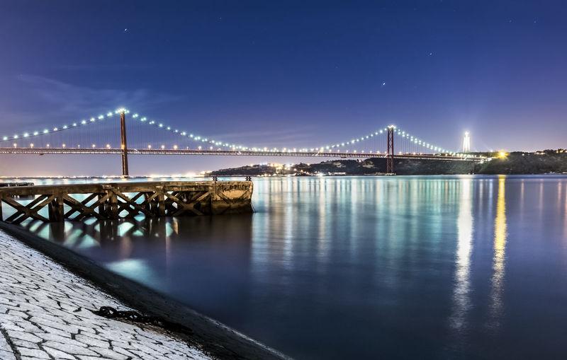 April 25th bridge over tagus river against sky at dusk