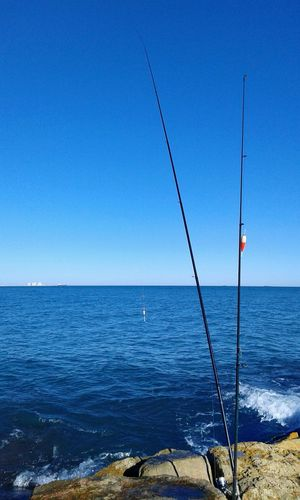 Fishing rods at shore against clear blue sky