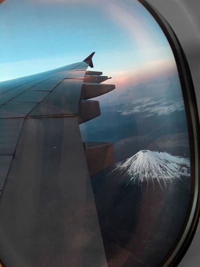 On plane to fuji Fuji Mountain Fuji Japan Dronephotography Drone  Plane Landscape Volcano Sunrise Sunset Sky Air Vehicle Aircraft Wing Airplane Transportation Mode Of Transportation Nature Flying Cloud - Sky Water No People Sea Travel Scenics - Nature Horizon Outdoors Journey Window Day
