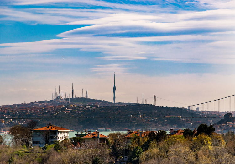 From asian side istanbul city landscape. traffic on the bridge and big mosque, broadcast tower view
