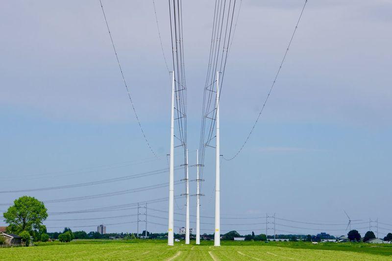 Electric lines Landscape Power Lines Electricity  Power Generation Electricity Pylon