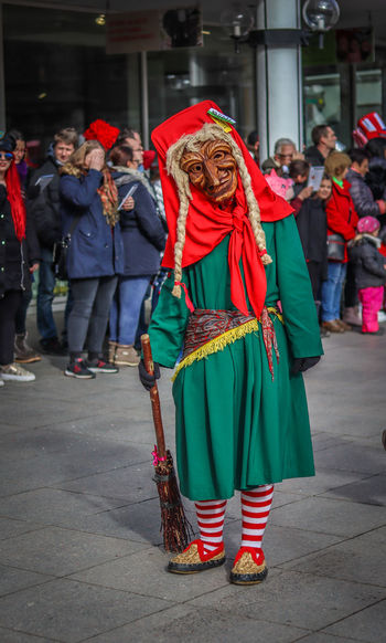 Fasching 2019 EyeEm Best Shots EyeEm Selects EyeEmBestPics Photography EyeEm Best Edits City Life Streetphotography Street Portrait Portrait Photography City Arts Culture And Entertainment Red Full Length Headwear Tradition Carnival Festival Mask Costume Carnival - Celebration Event Traditional Festival