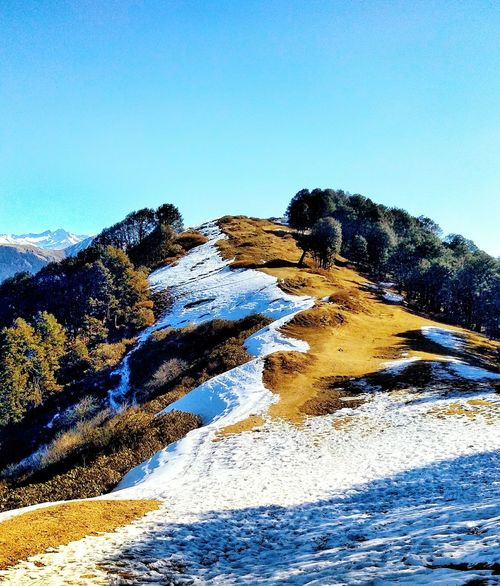The perfect mixture of Winter and Summer! ❤🙏 Mountain Himalayas Himachal Pradesh, India Photography Travel Destinations Tree Gopro Rocks Beautiful Nature Wanderlust Scenery Collection Wallpaper Beautiful Scenery View Frame Colours Colours Of Nature Nature Moments Orange And Teal Clear Sky Blue Mountain Sky Rocky Mountains Mountain Range Mountain Peak Hiker Snow Covered Snowcapped Mountain