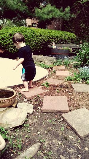 Childhood Outdoors Nature Child One Person Grandmas Garden Grandson