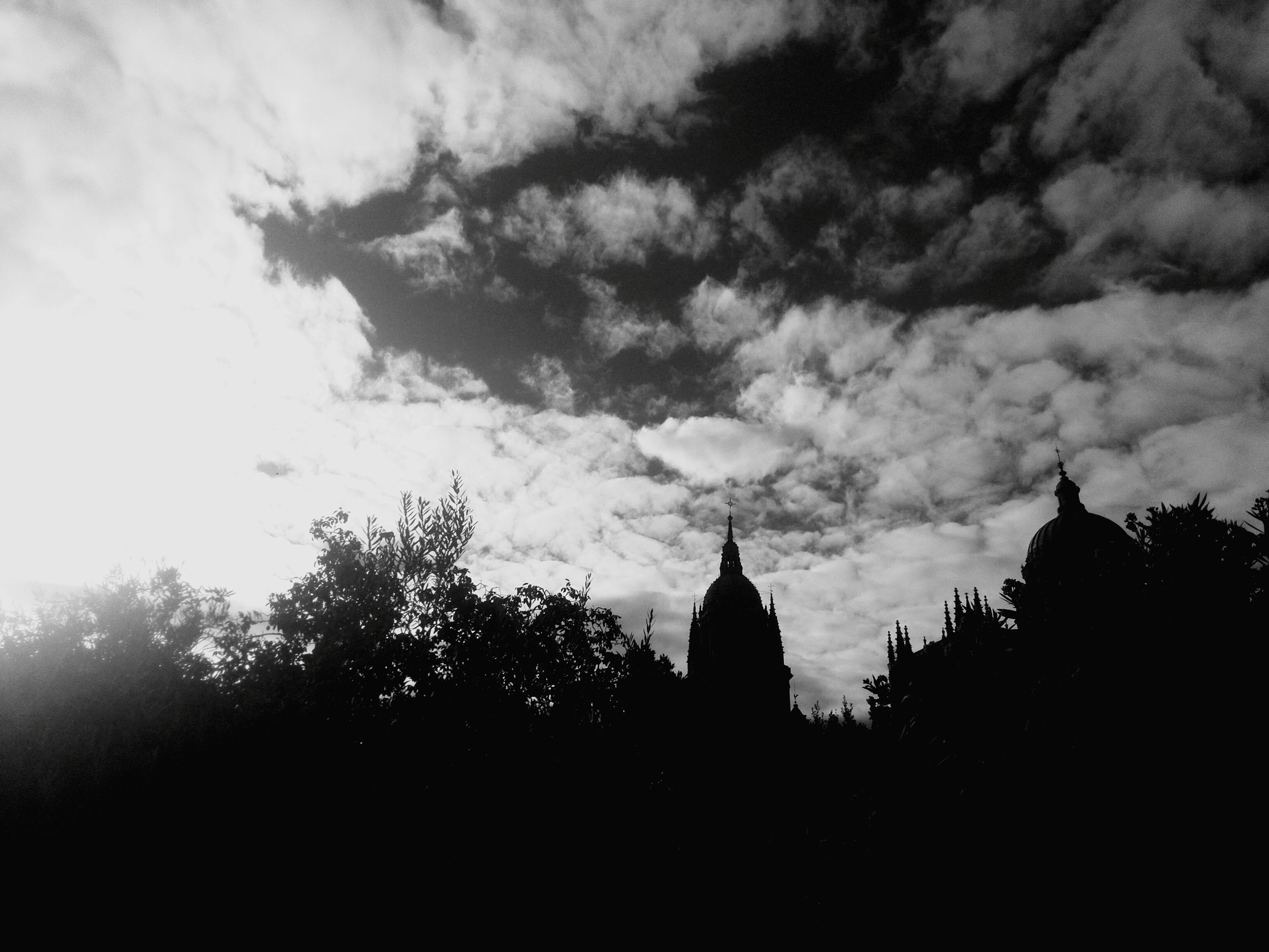 silhouette, architecture, building exterior, built structure, sky, religion, place of worship, spirituality, tree, church, cloud - sky, cloudy, low angle view, cloud, outdoors, no people, history, cathedral