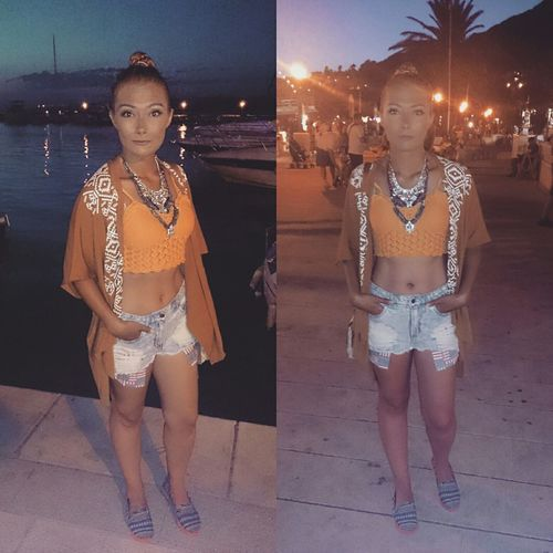 Summer time, love it. Fashion&love&beauty Cardigan Shorts Queens Nacklace Sea Nightlife Night View Top Letshavefun Check This Out