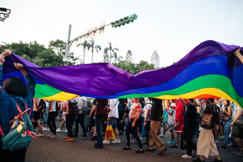 Taipei, Taiwan - Oct 28, 2017: Hundreds of thousands came out on streets of Taipei for the 15th Taiwan Pride Parade. The parade started marching from Ketagalan Boulevard to three different avenues and made Taipei even more colorful with all shades of rainbow. This year's goal is to promote inclusive education as it would lead to better acceptance. Taiwan is about to be the first in Asia to officially legalize 'equal marriage'. LGBT Rainbows LGBT Parade Taipei Pride Taiwanese Gay Parade   Gay Pride Parade Gaypride Lgbt Lgbt Flag Lgbt Pride Lovewins Pride2017 Prideparade Rainbow Flag Taiwan Pride Taiwanpride Taiwanpride2017 This Is Queer Adventures In The City Love Is Love