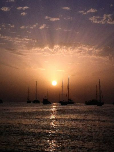 Sunset Sun Sea Sky Sailboat Nautical Vessel Sunbeam Tranquility No People Cloud - Sky Water Nature Beauty In Nature Scenics Sunlight Outdoors Waterfront Tranquil Scene Mast Reflection Laislabonita Formentera