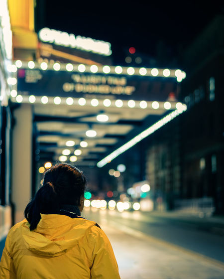 Night at the opera house One Person One Woman Only Night Time Photography Metropolitan Nighttime Bokeh Bokeh Photography Bokehlicious City Illuminated Rear View Women Street Light City Life Architecture Building Exterior Built Structure Neon Cityscape Neon Colored Fluorescent
