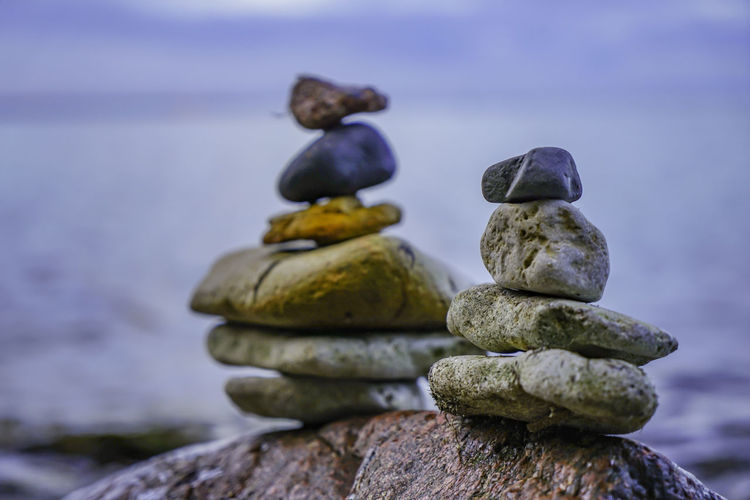 Stack Solid Rock Balance Stone - Object Rock - Object Focus On Foreground No People Zen-like Close-up Nature Sea Water Pebble Stone Beach Day Human Representation Tranquility