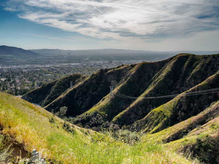 Beauty In Nature Burbank  Cloud - Sky Day Green Color Landscape Mountain Mountain Range Nature No People Outdoors Scenics Sky Tranquil Scene Tranquility Verdugo Mountains