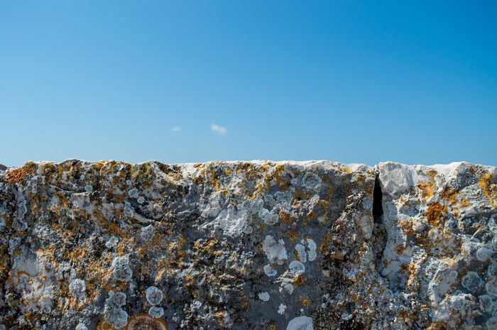 Blue Clear Sky Horizontal No People Outdoors Pattern Pieces Rock - Object Texture Wall