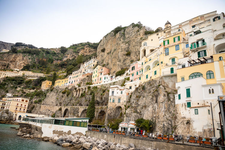 Italy Amalfi  Amalfi Coast Building Exterior Architecture Built Structure Mountain Sky Residential District Building Nature Day Transportation Mode Of Transportation City Water Motor Vehicle Car Incidental People Road Land Vehicle Clear Sky Town Outdoors