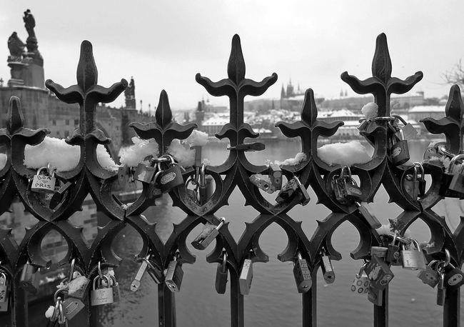 Bridge Castle Love Love Locks Love Locks Bridge Prague Railing River Snow