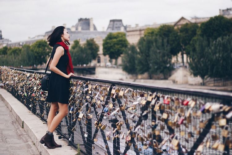 Paris France One Person Full Length Young Adult Leisure Activity Young Women City Fashion Outdoors Day Real People Europe Exploring Alone Travel Lifestyle Girl Locks EyeEmNewHere Natural Light Asian  Dress Scarf