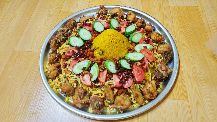 Mini tumpeng Food And Drink Food Healthy Eating Ready-to-eat Close-up Sweet Food No People High Angle View Tumpeng Tumpengan Indoors  Variation Multi Colored Directly Above Yellow Rice Yellow Rice Field Friedchicken Food Stories