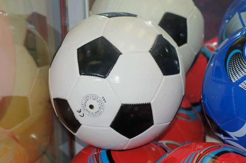 Close-up of soccer ball on table