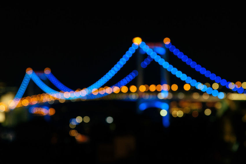 Xiamen Xiamen China Xiamen University Xiamen,China Architecture Blue Bridge - Man Made Structure Built Structure City Connection Copy Space Illuminated Multi Colored Night No People Outdoors Sky Suspension Bridge Transportation Travel Destinations
