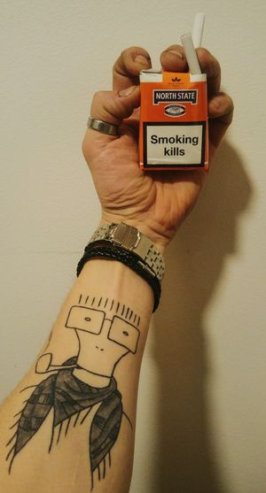 Smoking kills, they say... Smoking North Shadow My Hand  Hand Milo Descendents Tattoo Tattoos Self Portrait Selfportrait Selfie ✌ Smoker Bad Habit Human Body Part Text Western Script One Person Adults Only Mid Adult Human Hand Communication One Man Only Adult Only Men People Close-up Indoors  Beige Background Day