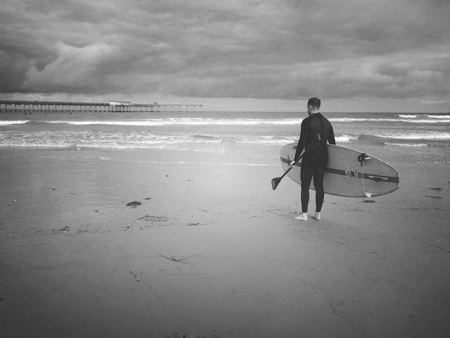 Sky Beach Water Black And White Ocean Sand Waves California Bnw Shore Mextures Mexturesapp Sandiego CaliLife OceanBeach Sdlife Obpier Pier Sandiego_ca Paddleboarding