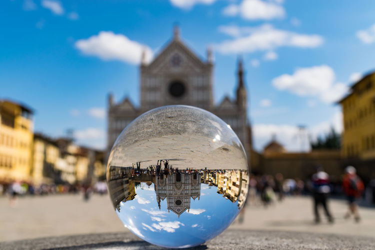 Upside down - Santa Croce Sphere Sphere Glass Architecture Building Exterior Built Structure City Close-up Focus On Foreground Large Group Of People Outdoors Place Of Worship Religion Spirituality Travel Destinations