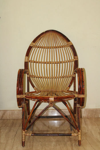 View of empty chair on table at home