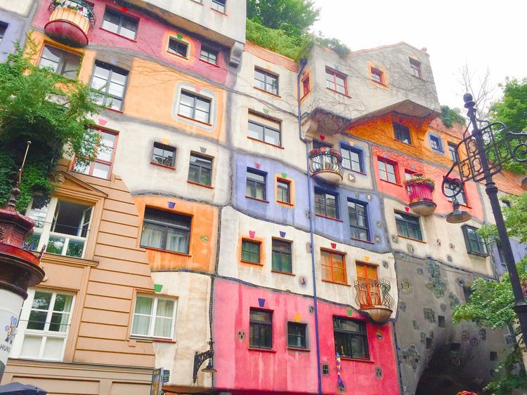 TakeoverContrast colorful architecture in Vienna Building Exterior Architecture Built Structure Low Angle View Multi Colored City Residential Structure Residential Building Colorful Apartment Colour Of Life Traveling Taking Photos The Architect - 2018 EyeEm Awards