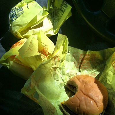 Lunch for today Mcdonals Two Cheese Burgers onechickenburgerspritefriesbowlafter
