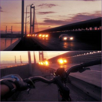 Дорога домой)))Приятная усталость после замечательного дня ;-))) Отличныйдень велосипед южныймост догога славутич днепр красиво закат велотур мост