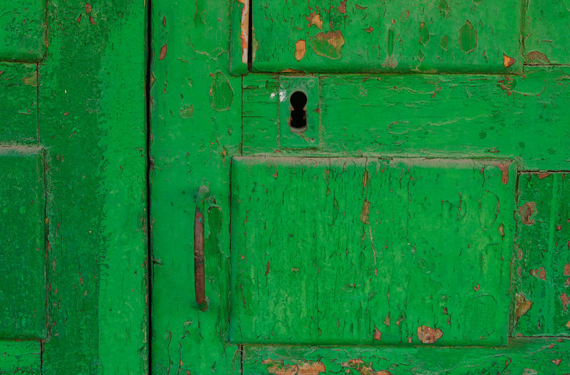 Full frame shot of green door